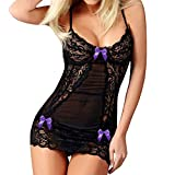 Ninasill Woman Large Size Sling Bow Sexy Nightdress Hollow Lace Perspective Seductive Tight Erotic Underwear Purple