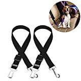 Glucktrade Adjustable Car Safety Seat Belts for Pet Dogs & Cats Universal, Pets Seat Belt tether Restraint Harness Seat Belt Travel Clip Vehicle Auto Seatbelt Safe Buckle Durable Nylon Safety Leads,2PCS (Black)