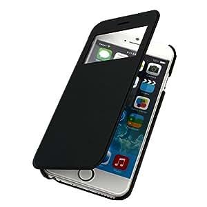 Funda con tapa de piel sintética con tapa plástico con doble ventana para Apple iPhone 6 4,7 con 2 unidades