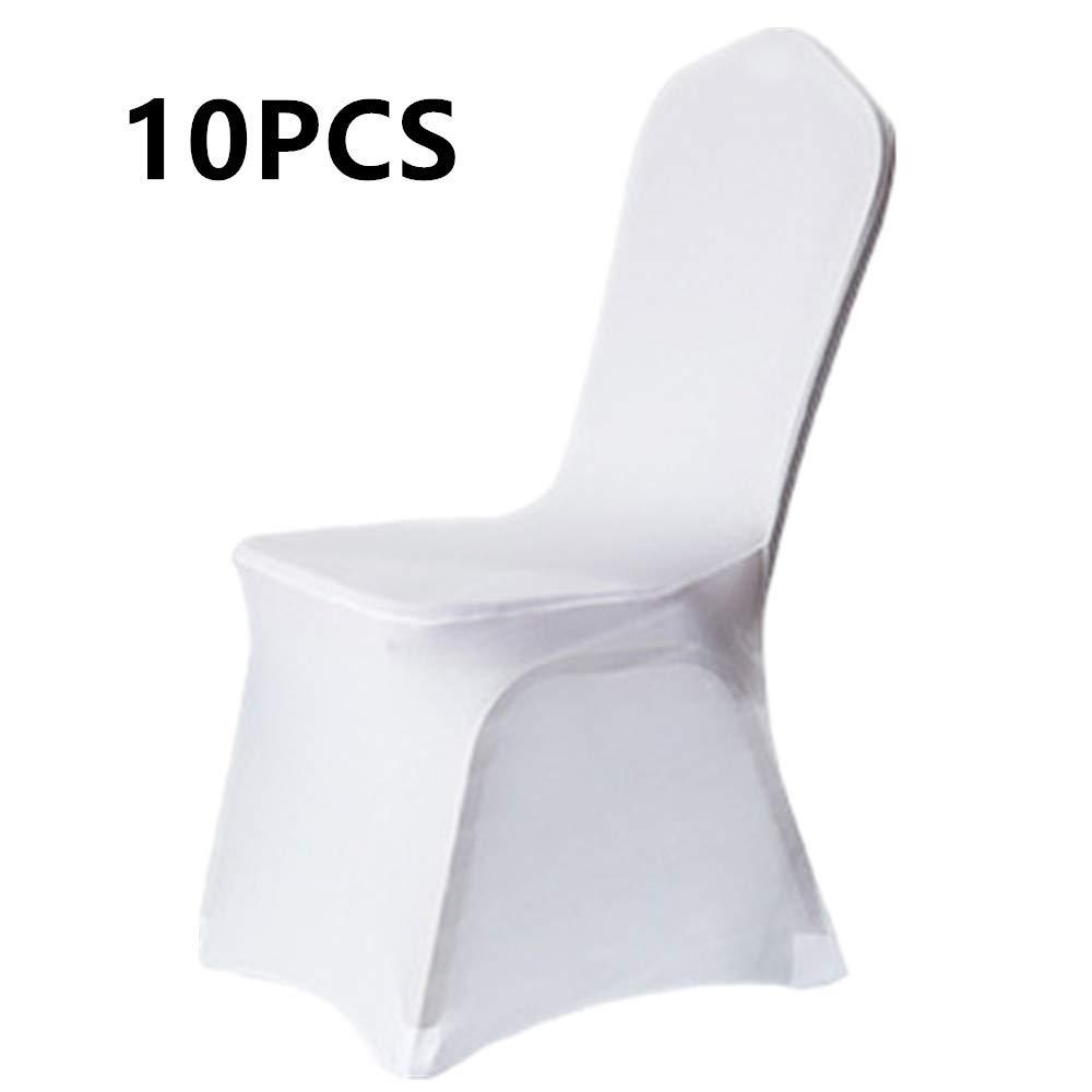 Grace Florist ホワイト ポリエステル スパンデックス 宴会 ウェディングパーティー ホームチェアカバー装飾 10pcs ホワイト 10pcs B07F25SRXH