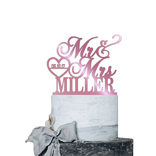 P Lab Personalized Cake Topper Mr. Mrs. Last Name Custom Date 2 Wedding Cake Topper Acrylic Decoration for Special Event Pink Mirror -