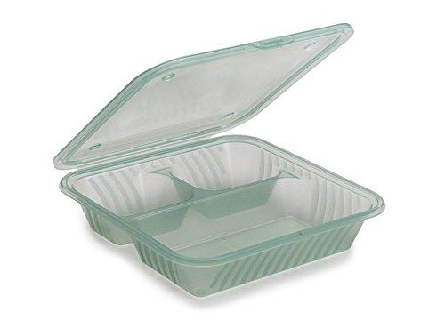 G.E.T. Enterprises EC-16-JA-EC 9'' x 9'' 3-Compartment Food Container, Flat Top, Polypropylene, Jade (Pack of 4)