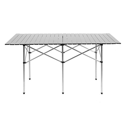 - Holarose Portable Folding Camping Table, Ultralight Aluminum Outdoor Compact Table Folding Camping Collapsible Table Picnic Dining Desk for Outdoor Camping Picnic BBQ Beach Fishing (55.11'' x 27.5'')