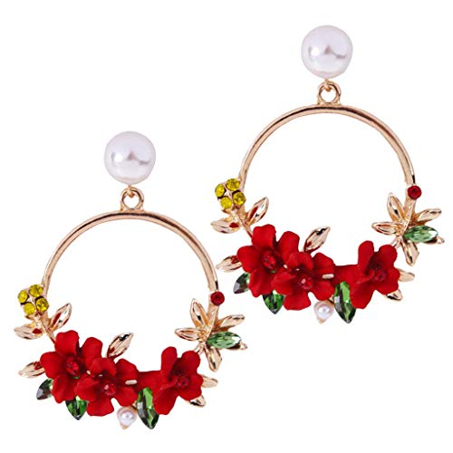 Vintress Earrings for Women, Flower Metal Big Circle Earrings Temperament Female Metal Hoop Earrings Dangle Long Earrings Ladies Jewelry Gift (Red)