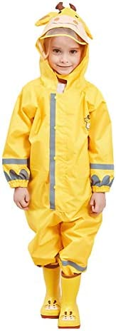 Kids One Piece Rainsuit,Unisex Toddler Waterproof Rain Coat Coverall with Reflective Strips and Hats for Boys