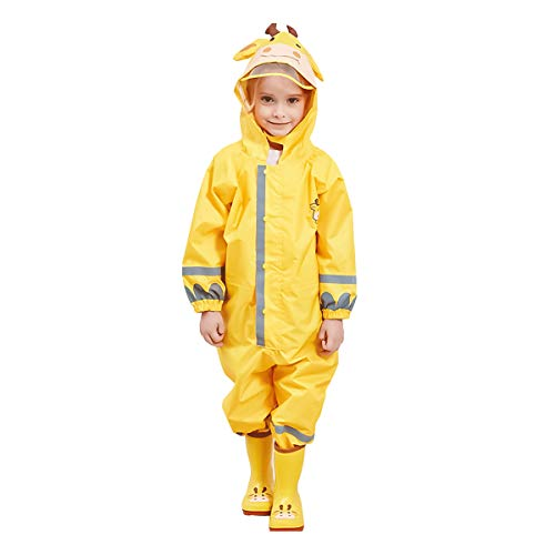 (Liny Kids One Piece Rainsuit,Unisex Toddler Waterproof Rain Coat Coverall with Safety Reflective Strips and Hats Yellow)