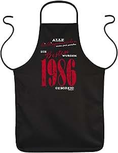 favoritos Personas 1986–modelos de parrilla o Delantal para todo el mundo para aniversario de cumpleaños,–Regalo–Negro