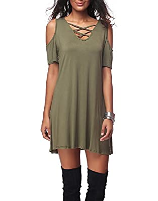 Women's Casual Short Sleeve Off Shoulder Cross V-neck Loose Dress