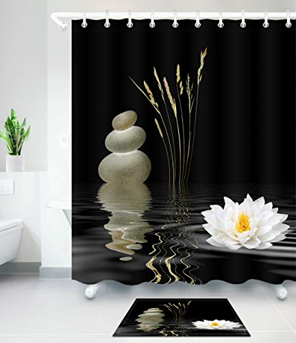 LB Zen Stone Shower Curtain Set,Hot Stones with Asian Lotus Flower Reflection in Water,Waterproof Fabric Black White Bathroom Curtains 72x72 Inch with Bath ()
