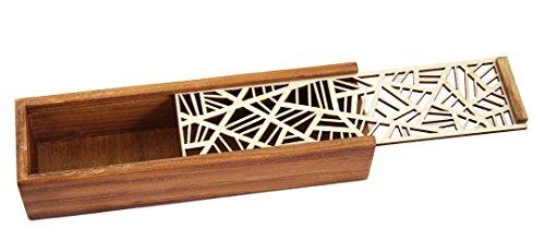 GLOBAL BOX Asian Wooden Pen Pencil Case Box (Mesh Pattern) (Box Pencil Wooden)