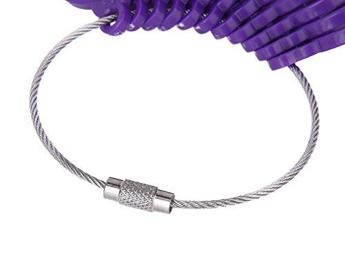 Baguier Outil de Mesure de Doigt Plastique Anneau Taille US 3-13 Violet