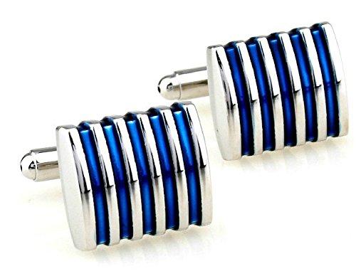 Westeng 1 par Cufflinks personalidad sencilla gemelos franja azul Botones para Camisa Gemelos