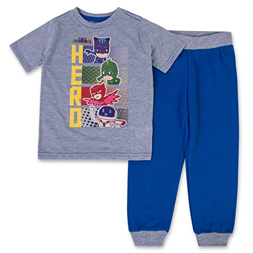 (Boys PJ Masks Jogger Set - 1 PJ Masks T-Shirt & 1 PJ Masks Sweatpants - Catboy, Gecko & Owlette - 2 Piece Set (Navy/Grey, 5/6))