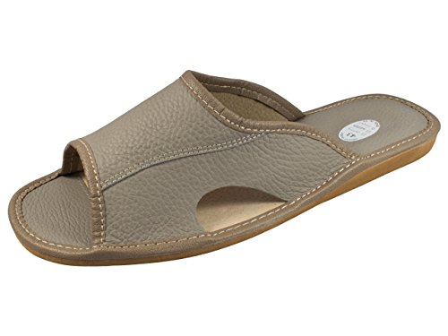 Auténtica piel de hombres zapatillas, chanclas, Mulas con suela anatómica o forro de lana. Varios colores - Grey (Open Toe)