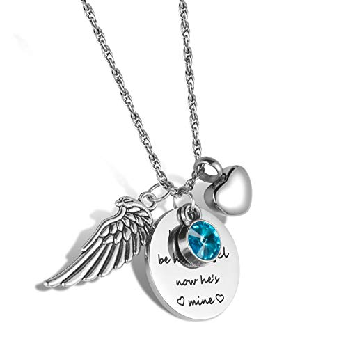 starton I Used to be his Angel, Now He's Mine with Angel Wing Charm Cremation Jewelry Keepsake Memorial Urn Necklace with Birthstone Crystal (Girl Angel Birthstone Charm)