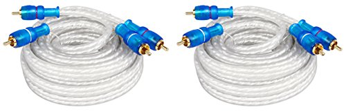 ((2) Rockville MRCA25 25 Foot Twisted Pair Marine/Boat RCA Cables 100% Copper)