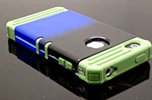 CellTx Apollo Case For Apple (iPhone 4, 4S, 4G) Case Cover Army Green Rubber Skin and (Blue, Black) AT&T, T-Mobile, Sprint, Verizon, Cricket, Virgin Mobile, Boost Mobile by runtopwell