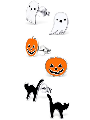 Halloween 3 Pumpkin (925 Sterling Silver Hypoallergenic Set of 3 Pairs Halloween Set Ghost, Orange Pumpkin Jack-O-Lantern , Black Cat Stud Earrings for Girls and Womens (Nickel Free) 20509)