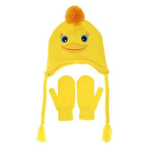 Embouts Chapeaux et mitaines jaune canard Taille 2–5ans pour enfant en laine Winte