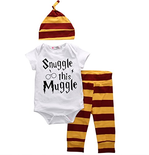 Baby Boys Girls Snuggle This Muggle Bodysuit Romper and Striped Pants Outfit With Hat (White, 70 (0-6M))