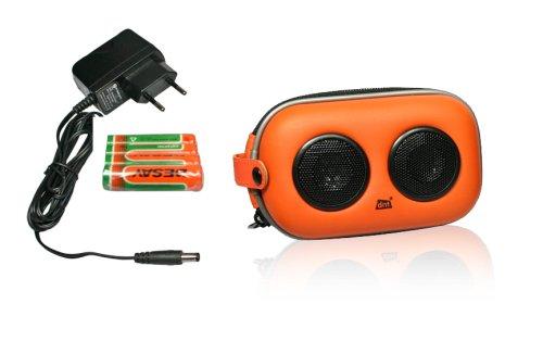 DNT SoundBox X-01 Tragbarer Lautsprechersystem (Ladegerät, Audio-Eingang für CD-/MP3-Player) orange/schwarz