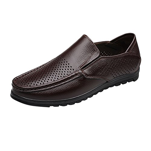 Snowman Lee Men's Leather Penny Loafers Breathable Slip-On Shoes Fashion Casual Boat Shoes Dark Brown 7 M US