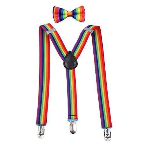 BUYITNOW Rainbow Stripe Bow Tie & Y-Back Suspenders Set Gift Idea for Boys and -