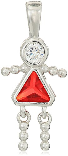 - Sterling Silver AAA Cubic Zirconia Simulated Birthstone Babies Girl Charm, July