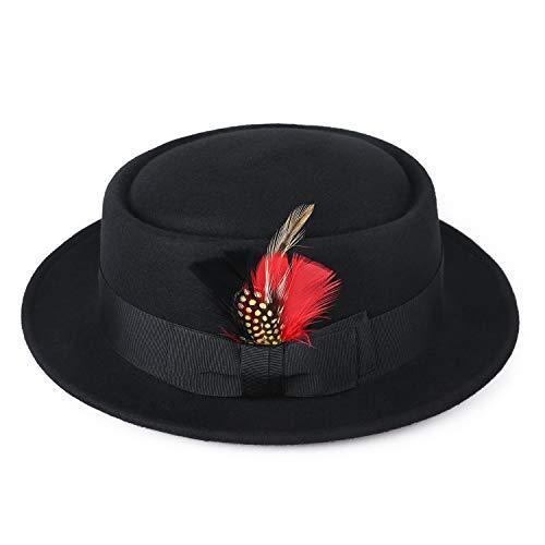 Deevoov Men's Wool Felt Fedora Pork Pie Hat Short Brim Outback Cap with Wide Band Bow Feather, Black (Mens Pork Pie Hat)