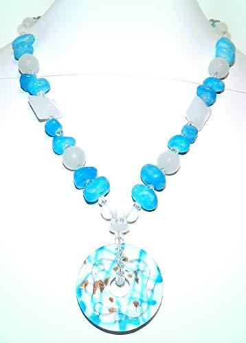 Blue Agate Natural Gemstone & White Lampwork Glass Pendant 19
