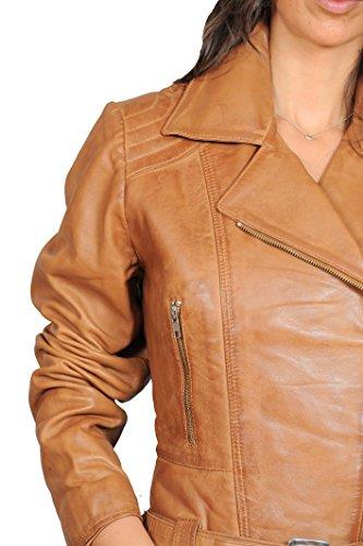 Biker Moyenne Hannah Cuir Taille En Femmes Ajusté Veste Longueur Zippé Véritable Bronzer Manteau Fashion Ceinture Goods A1 XRwqvff