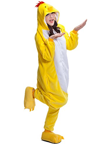 Chicken Halloween Costumes For Adults (Adult Chicken Kigurumi Animal Costume Pajamas Homewear Lounge Wear S)