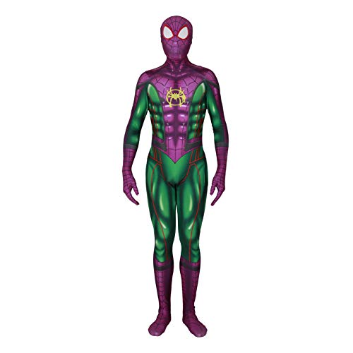 MYanimec Unisex Lycra Spandex Halloween New into The Spider Verse Miles Morales Cosplay Costumes Adult/Kids 3D Style Adult-S Green]()