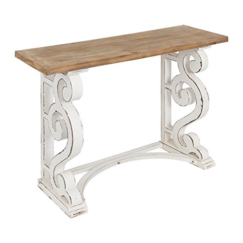 Kate and Laurel Wyldwood Country French Solid Wood Console table – Rustic/White legs – Natural Wood top 42 Inches Wide x 14 Inches Deep x 30 Inches Tall