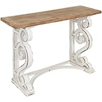 Kate and Laurel Wyldwood Country French Solid Wood Console table - Rustic/White legs - Natural Wood top 42 Inches Wide x 14 Inches Deep x 30 Inches Tall