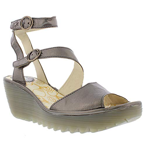 - FLY London Womens Yisk Idra Strappy Open Toe Wedge Heel Cut Out Sandals - Bronze - US11/EU42
