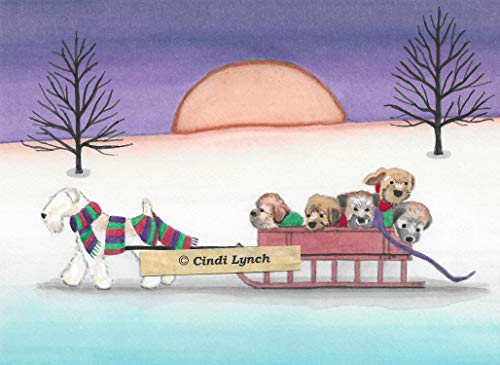 - Lynch 12 Christmas Cards: Wheaten Terrier (wheatie) Family Takes Holiday sled Ride Folk Art