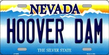 Hoover Dam Nevada Background Novelty Metal License Plate With Sticky Notes