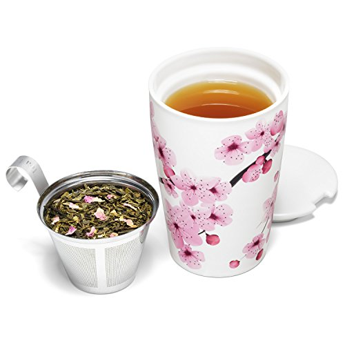 Tea Forté KATI Cup Ceramic Tea Brewing Cup with Infuser Basket and Lid for Steeping, Loose Leaf Tea Maker, Hanami by Tea Forte (Image #2)