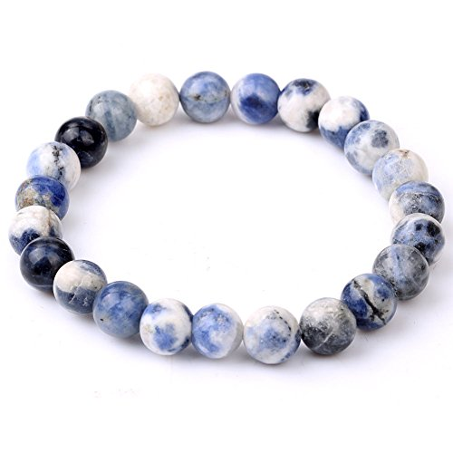 jennysun2010 Handmade Natural Sodalite Gemstone Smooth Round Loose Beads 8mm Stretchy Bracelet Healing 7