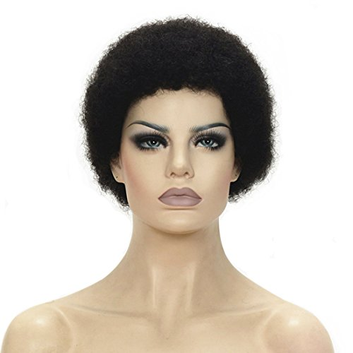 Search : Lydell 100% Human Hair wigs for Black Women Men African American Kinky Curly black Short wig #1 Black