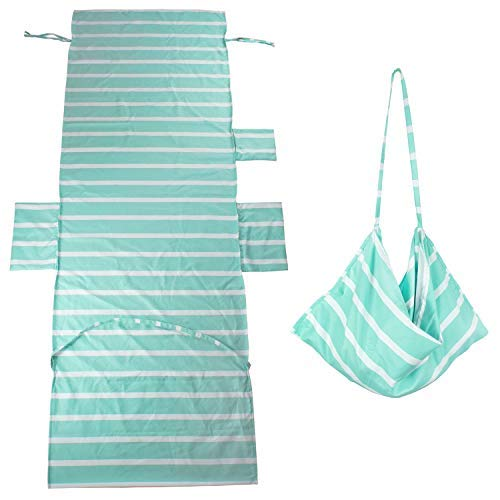 (DoMii Lightweight Microfiber Beach Towel Swimming Pool Lounge Chair Cover with Side Pockets for Holidays Sunbathing 84.6 x 29.5-inch 9-Mint Green Stripes)
