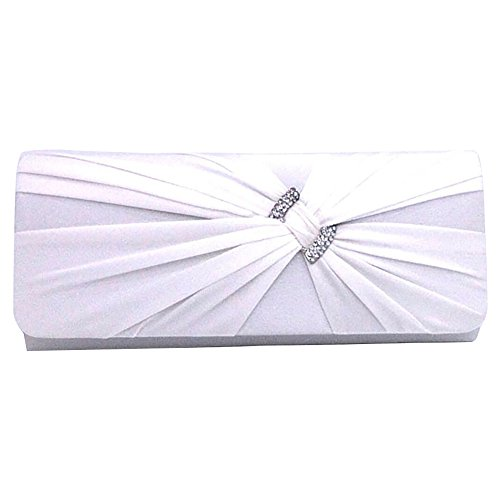 Handbag Satin Purse Diamante pink Wiwsi hot Elegant Pleats Party Bag Women Clutch Prom Bridal 8ngqA
