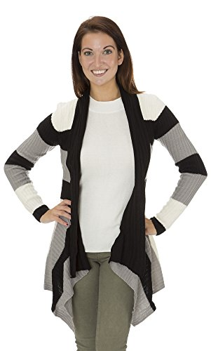 (14201R) Classic Designs Womens Long Length Geo Striped Shrug Sweater in Black Combo Size: M