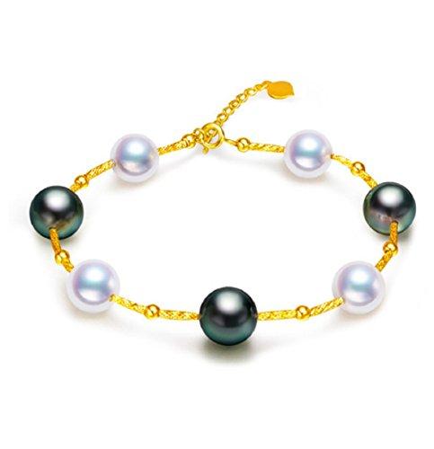 GOWE Saltwater Pearl Bracelet 8-9mm Tahitian & Akoya Pearl Bracelet 18k Gold Bracelets