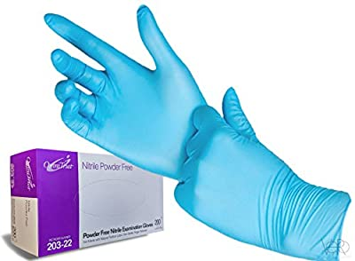 Nitrile Exam Gloves - Medical Grade, Powder Free, Latex Rubber Free, Disposable, Non Sterile, Food Safe, Textured Fingers, Blue Color, Convenient Dispenser Pack of 200