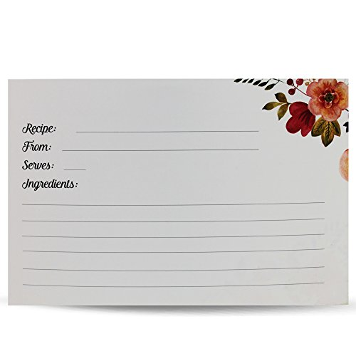 50 Recipe Cards plus 10 Blank Dividers with Vintage-Look Floral Print - The Splendid Chef Recipe Box Card Refill Packs