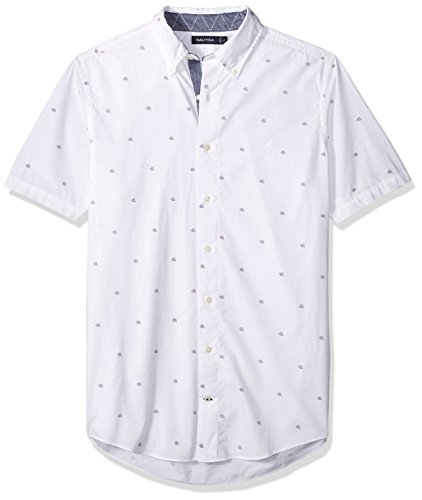 (Nautica Men's Big and Tall Classic Fit Long Sleeve Print Pattern Button Down Shirt, Bright White LT)
