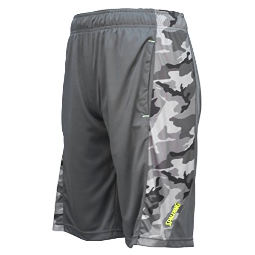 Spalding Mens Active Interlock Basketball Gym Athletic Workout Shorts With Camo Side Panel Graphite Small