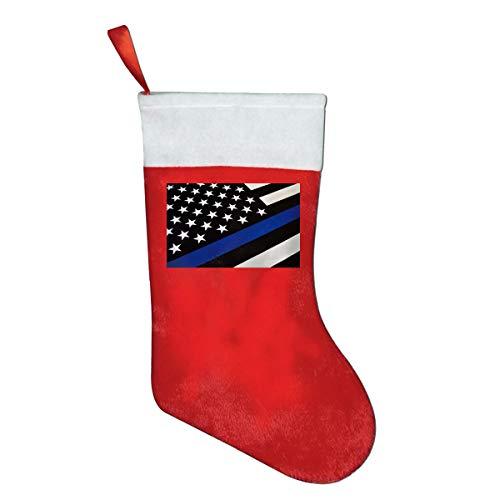 (LQLDHJ Blue Line USA Flag Novelty of Fashion Christmas Stocking Printed Christmas Holiday Socks)